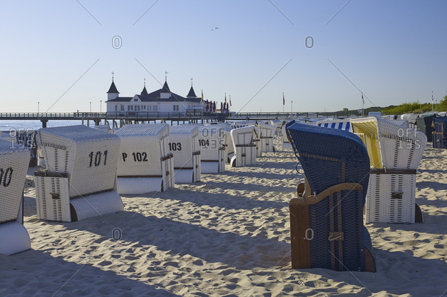 Ahlbeck beach with pier, Baltic resort Ahlbeck, Usedom, Mecklenburg-Western Pomerania, Germany