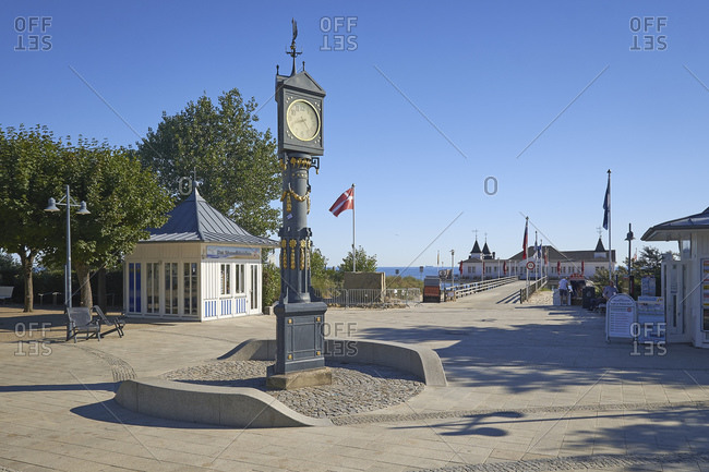 July 22, 2016: Seebruckenplatz with pier, Ostseebad Ahlbeck, Usedom, Mecklenburg-West Pomerania, Germany