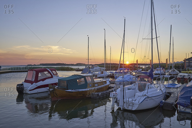 July 21, 2016: Sunset at uckeritz Marina, Usedom Island, Mecklenburg-West Pomerania, Germany