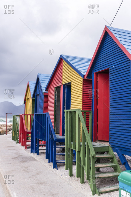 Colorful changing rooms, Muizenberg, Cape Town, Western Cape, South Africa, Africa