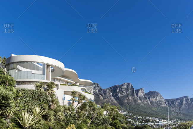 March 16, 2016: Modern architecture at the foot of Table Mountain, Camps Bay, Cape Town, Western Cape, South Africa, Africa