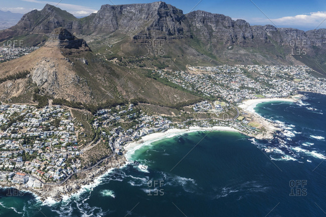 Aerial view, view of Clifton Beach and Camps Bay, Cape Town, Western Cape, South Africa, Africa