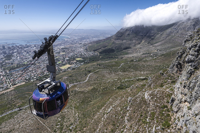March 15, 2016: Cable car on Table Mountain, Cape Town, Western Cape, South Africa, Africa