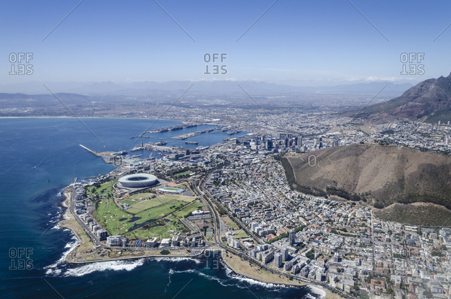 March 16, 2016: Aerial view, view of Cape Town, Western Cape, South Africa, Africa