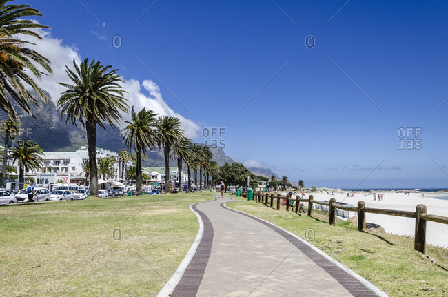March 15, 2016: Beach promenade, Camps Bay, Cape Town, Western Cape, South Africa, Africa