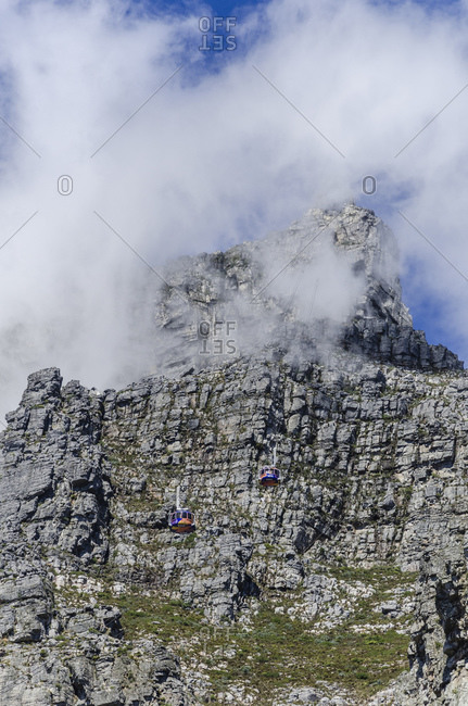 March 15, 2016: Table top station in the clouds, Cape Town, Western Cape, South Africa, Africa