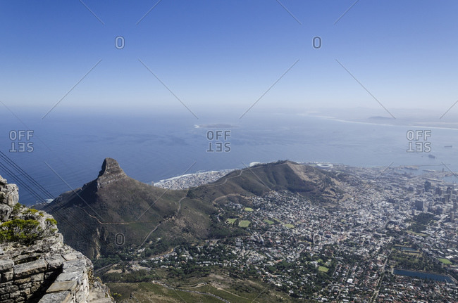 View from Table Mountain to Cape Town, Western Cape, South Africa, Africa