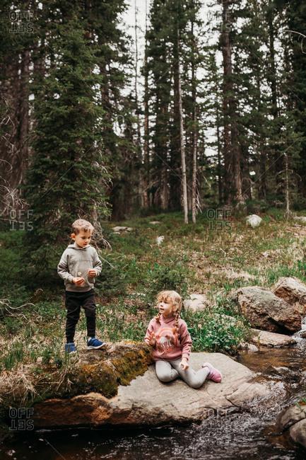 Brother and sister playing on big rocks along river