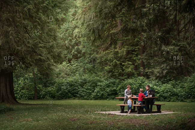 Man and three boys sitting on picnic table at a nature park