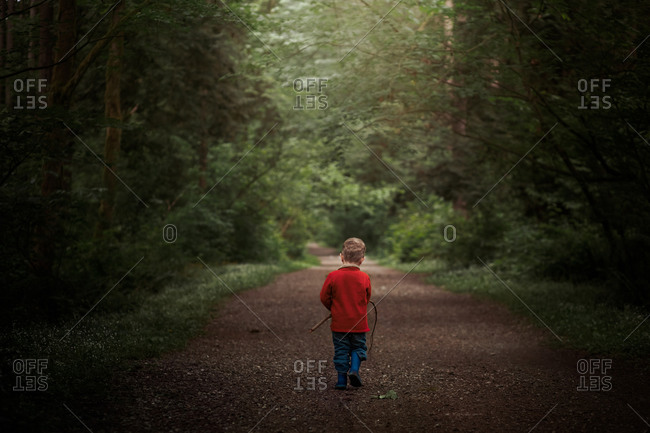 Rear view of little boy carrying a stick while walking on a path in the woods