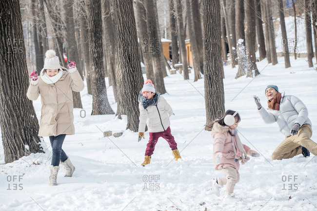 The snow snowball fights the happiness of family