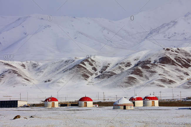 Xinjiang huts covered in snow
