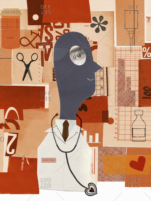 Doctor and modern healthcare collage