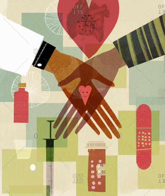 Doctor, patient and heart medicine