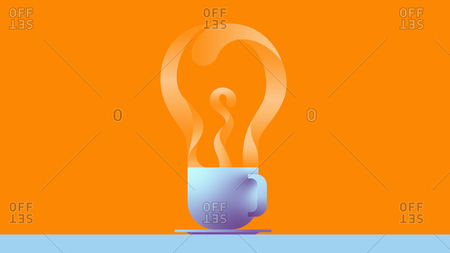Steam from coffee cup forming light bulb