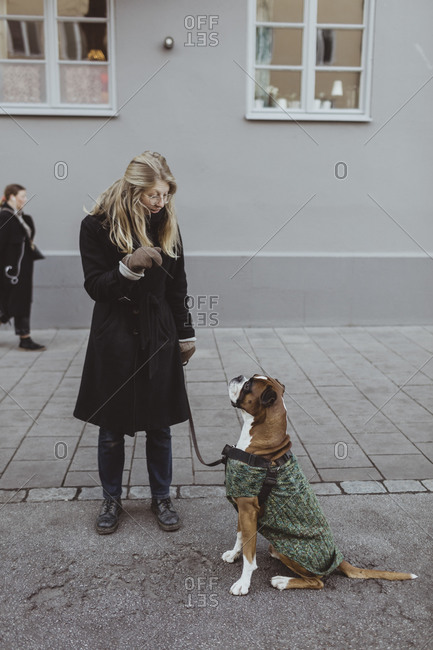 Full length of young woman standing with boxer dog against building in city