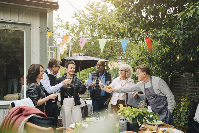 Active senior male and female friends raising toast with drink while standing at back yard during garden dinner party