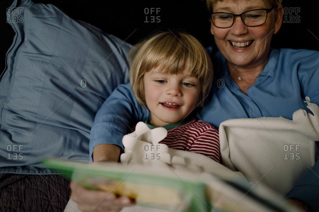 Smiling grandmother reading story book for grandson on bed at home