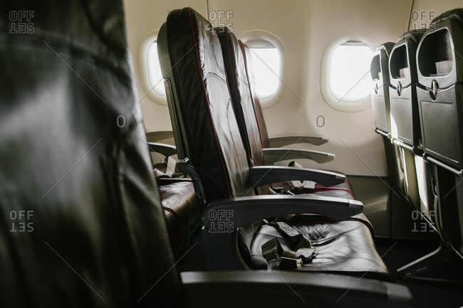 Interior view of empty airplane seats