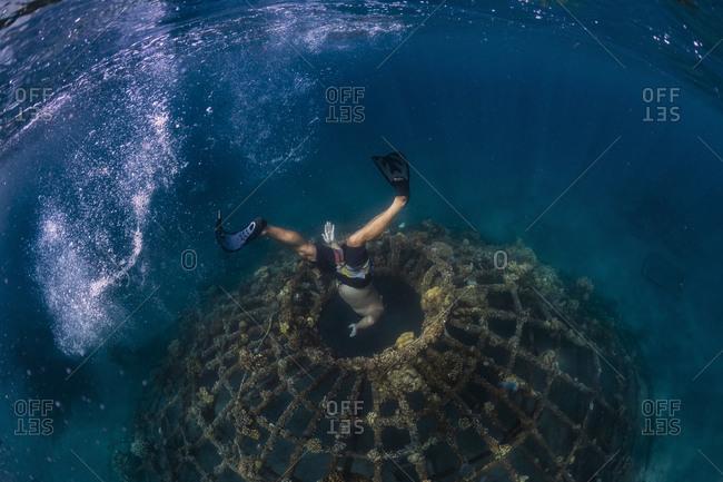 Man diving underwater, Perebutan, Bali, Indonesia