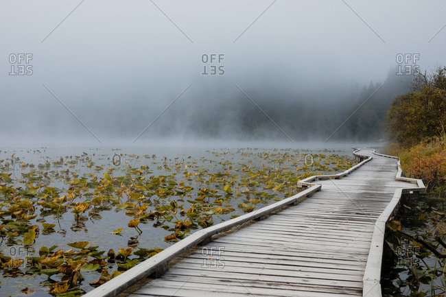 Boardwalk over One Mile Lake at sunrise, Pemberton, British Columbia, Canada