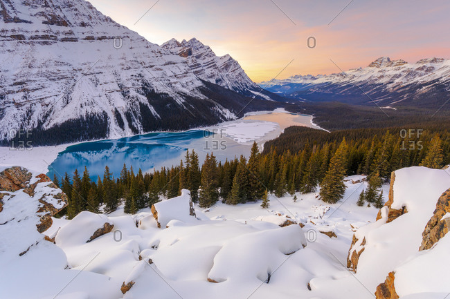Peyto Lake in winter, Banff National Park, Alberta, Canada