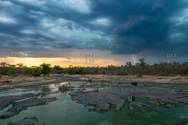 A landscape with a waterhole and sunset with dark clouds, rain and lightning in the background