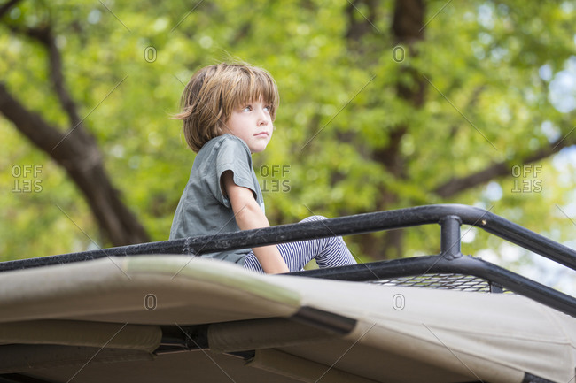 A five year old boy seated on the observation platform of a safari jeep under trees.