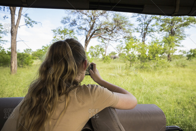 Rear view of a Teenage girl photographing elephants under trees, from a safari jeep