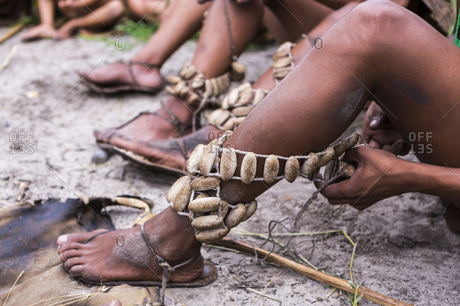 Leg decorations, traditional tribal ceremonial garters worn by the San People bushmen.