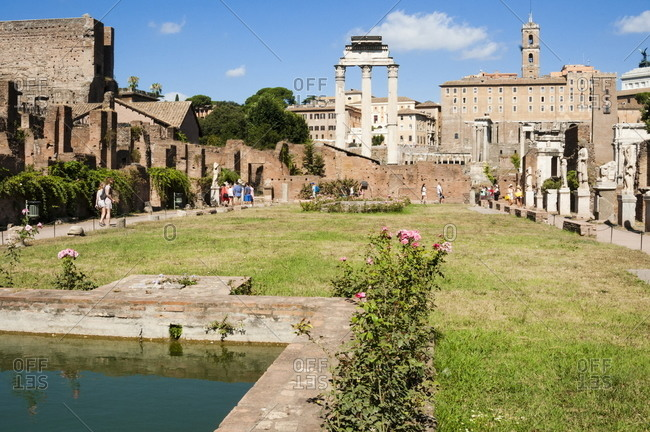 May 18, 2020: House of the Vestal Virgins, Temple of Castor and Pollux behind, Roman Forum, UNESCO World Heritage Site, Rome, Lazio, Italy, Europe