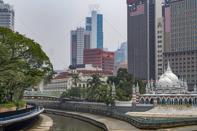 September 3, 2019: Masjid Jamek Mosque at the confluence of the Klang and Gombak River in the capital city of Kuala Lumpur, Malaysia, Southeast Asia, Asia