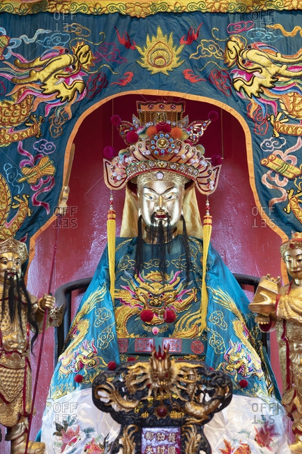September 3, 2019: A shrine in the Guan Di Taoist Temple in Chinatown in the capital city of Kuala Lumpur, Malaysia, Southeast Asia, Asia