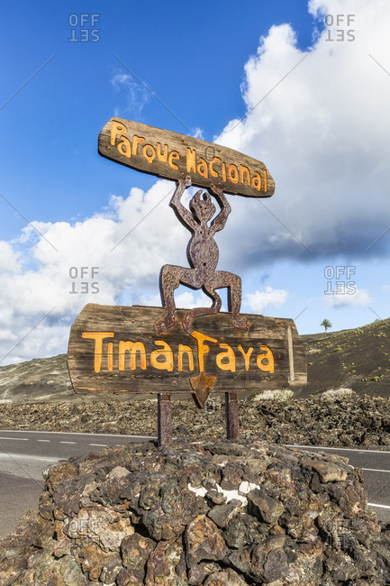 January 25, 2020: Timanfaya National Park, National Park entrance sign, Lanzarote, Canary Islands, Spain, Atlantic, Europe