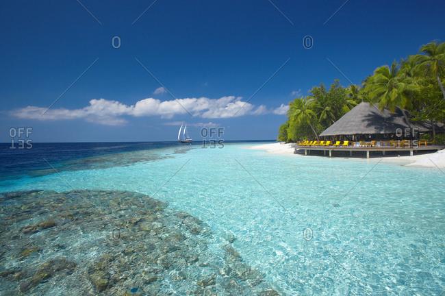 Terrace and tropical beach, The Maldives, Indian Ocean, Asia