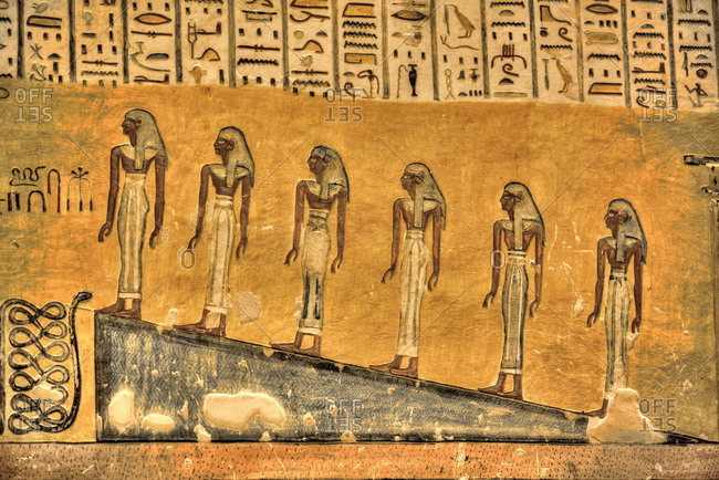March 20, 2020: Murals, Tomb of Ramses IV, KV2, Valley of the Kings, UNESCO World Heritage Site, Luxor, Thebes, Egypt, North Africa, Africa