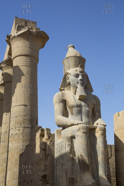 March 18, 2020: Colossus of Ramses II, Court of Ramses II, Luxor Temple, UNESCO World Heritage Site, Luxor, Thebes, Egypt, North Africa, Africa