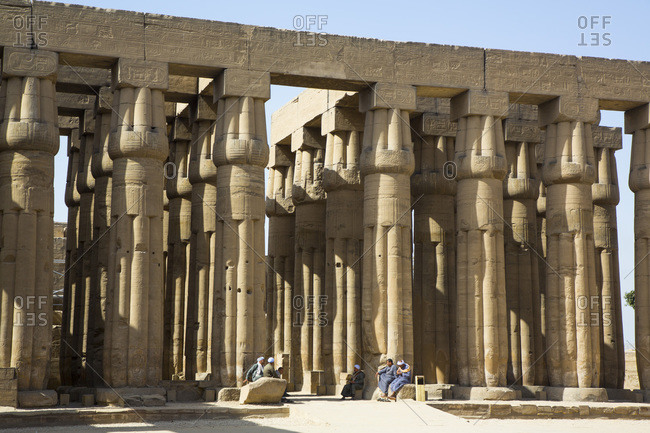 March 18, 2020: Columns of Hypostyle Hall, Luxor Temple, UNESCO World Heritage Site, Luxor, Thebes, Egypt, North Africa, Africa