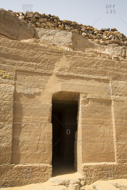March 13, 2020: Entrance, Tomb of Harkhuf, Tombs of the Nobles, Aswan, Egypt, North Africa, Africa