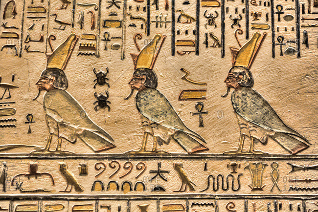 March 19, 2020: Relief of Pharaohs, Tomb of Ramses V and VI, KV9, Valley of the Kings, UNESCO World Heritage Site, Luxor, Thebes, Egypt, North Africa, Africa