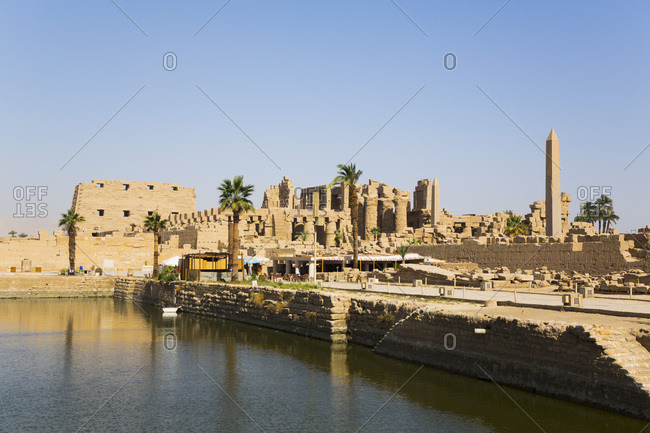 March 17, 2020: Sacred Lake, Karnak Temple Complex, UNESCO World Heritage Site, Luxor, Thebes, Egypt, North Africa, Africa