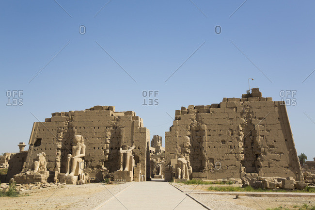 March 17, 2020: Seventh Pylon, Karnak Temple Complex, UNESCO World Heritage Site, Luxor, Thebes, Egypt, North Africa, Africa