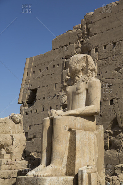 March 17, 2020: Colossus of Tuthmosis III, Eighth Karnak Temple Complex, UNESCO World Heritage Site, Luxor, Thebes, Egypt, North Africa, Africa