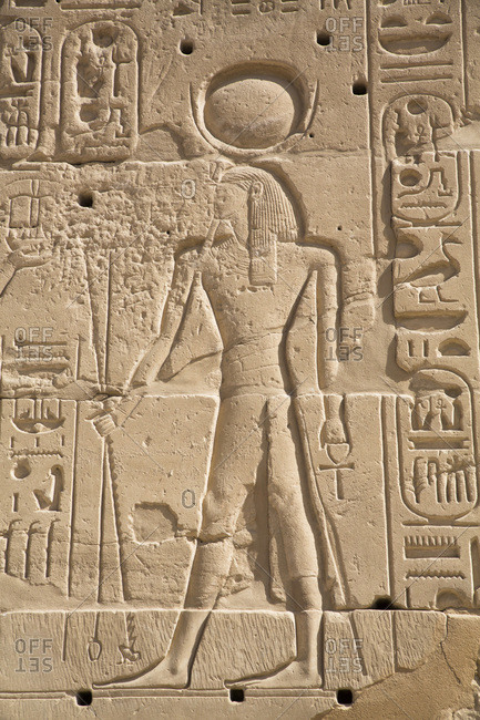 March 17, 2020: Relief of Deity, Karnak Temple Complex, UNESCO World Heritage Site, Luxor, Thebes, Egypt, North Africa, Africa