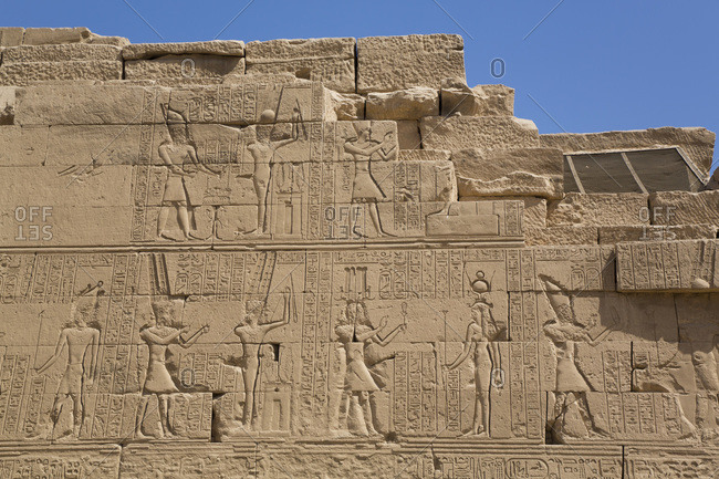 March 18, 2020: Wall of Reliefs, Temple of Osiris and Opet, Karnak Temple Complex, UNESCO World Heritage Site, Luxor, Thebes, Egypt, North Africa, Africa