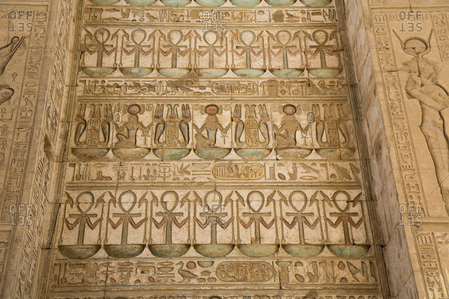 March 18, 2020: Reliefs, Gateway of Ptolemy III, Karnak Temple Complex, UNESCO World Heritage Site, Luxor, Thebes, Egypt, North Africa, Africa