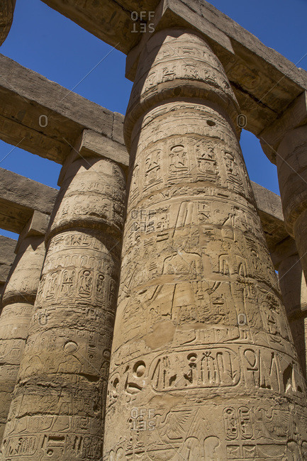 March 18, 2020: Columns, Great Hypostyle Hall, Karnak Temple Complex, UNESCO World Heritage Site, Luxor, Thebes, Egypt, North Africa, Africa