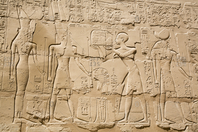 March 18, 2020: Reliefs, Offering to God Amun, Great Hypostyle Hall, Karnak Temple Complex, UNESCO World Heritage Site, Luxor, Thebes, Egypt, North Africa, Africa