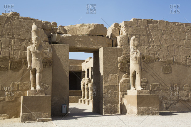 March 17, 2020: Entrance, Temple of Ramses III, Karnak Temple Complex, UNESCO World Heritage Site, Luxor, Thebes, Egypt, North Africa, Africa