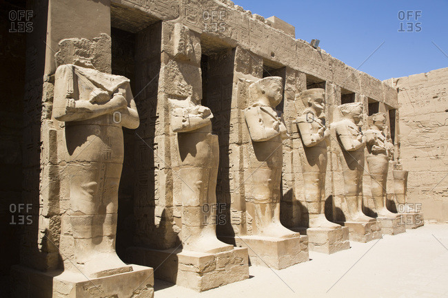 March 18, 2020: Statues of Ramses III, Temple of Ramses III, Karnak Temple Complex, UNESCO World Heritage Site, Luxor, Thebes, Egypt, North Africa, Africa